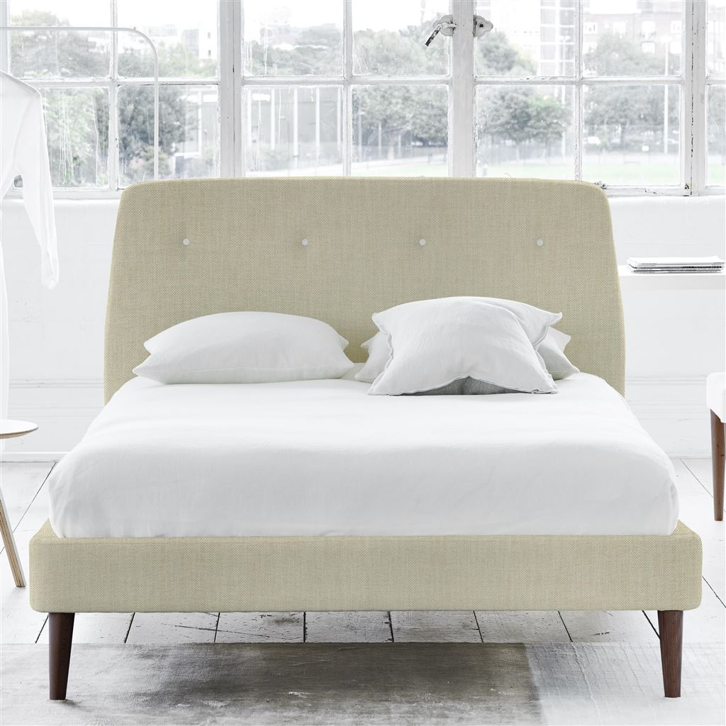 COSMO BED WHITE BUTTONS - KING - WALNUT LEG - ELRICK NATURAL