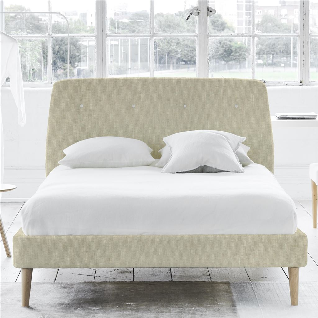 COSMO BED WHITE BUTTONS - SUPERKING - BEECH LEG - ELRICK NATURAL