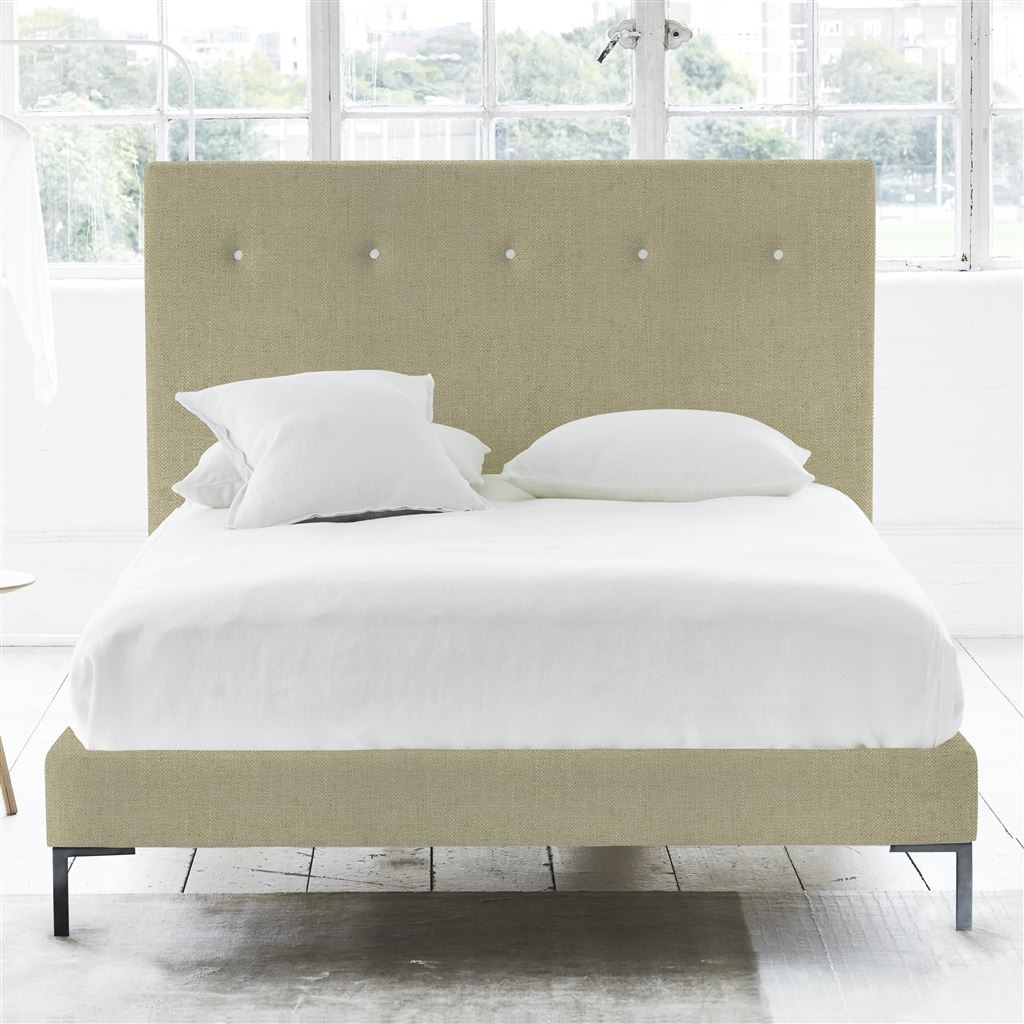 Polka Bed White Buttons - Double - Metal Leg - Elrick Hessian