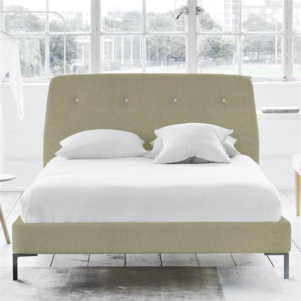 COSMO BED WHITE BUTTONS - SINGLE - METAL LEG - ELRICK HESSIAN