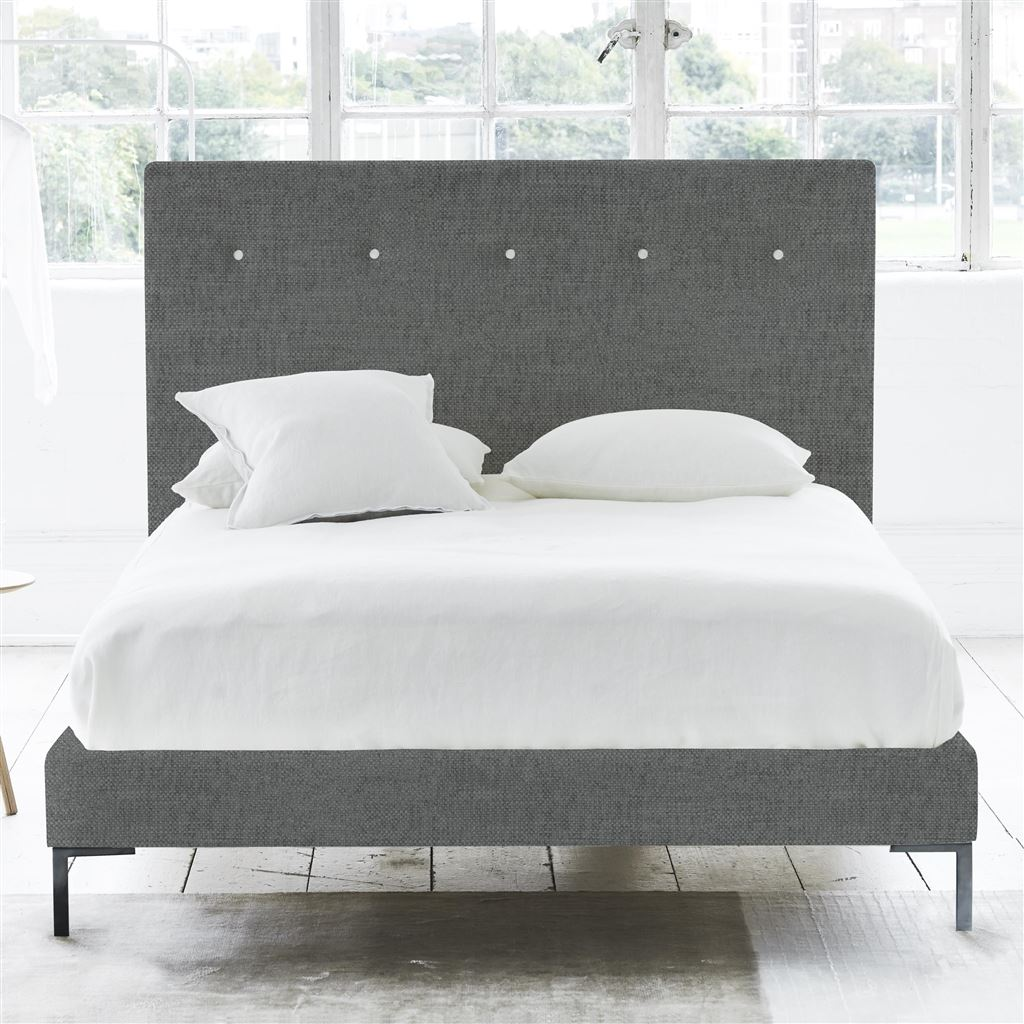 POLKA BED WHITE BUTTONS - KING - METAL LEG - ELRICK STEEL