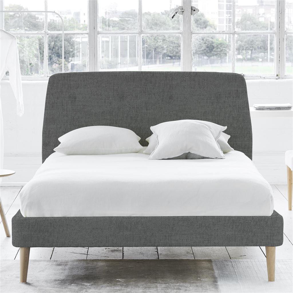 COSMO BED-SELF BUTTONS - DOUBLE - BEECH LEG - ELRICK STEEL