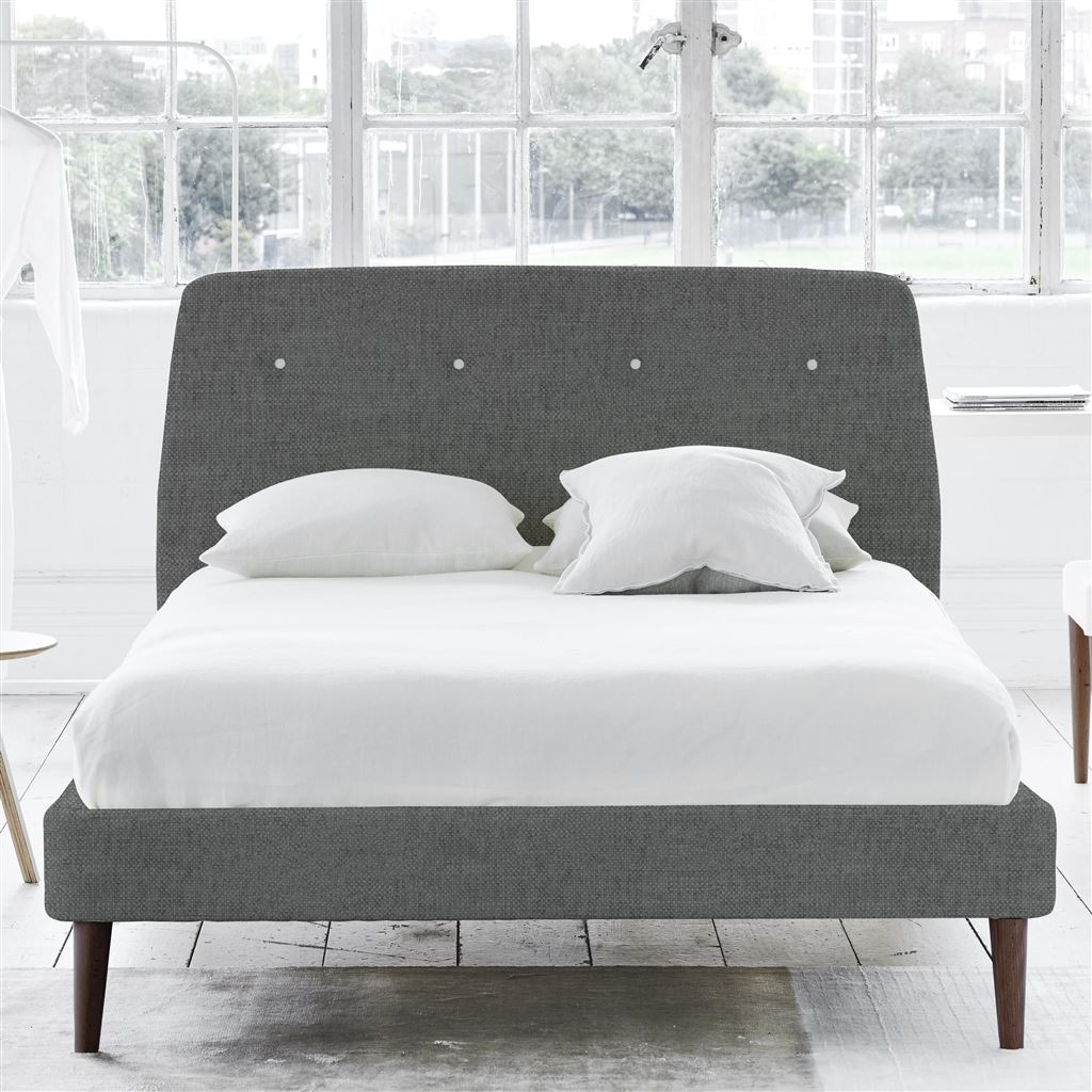 COSMO BED WHITE BUTTONS - SINGLE - WALNUT LEG - ELRICK STEEL