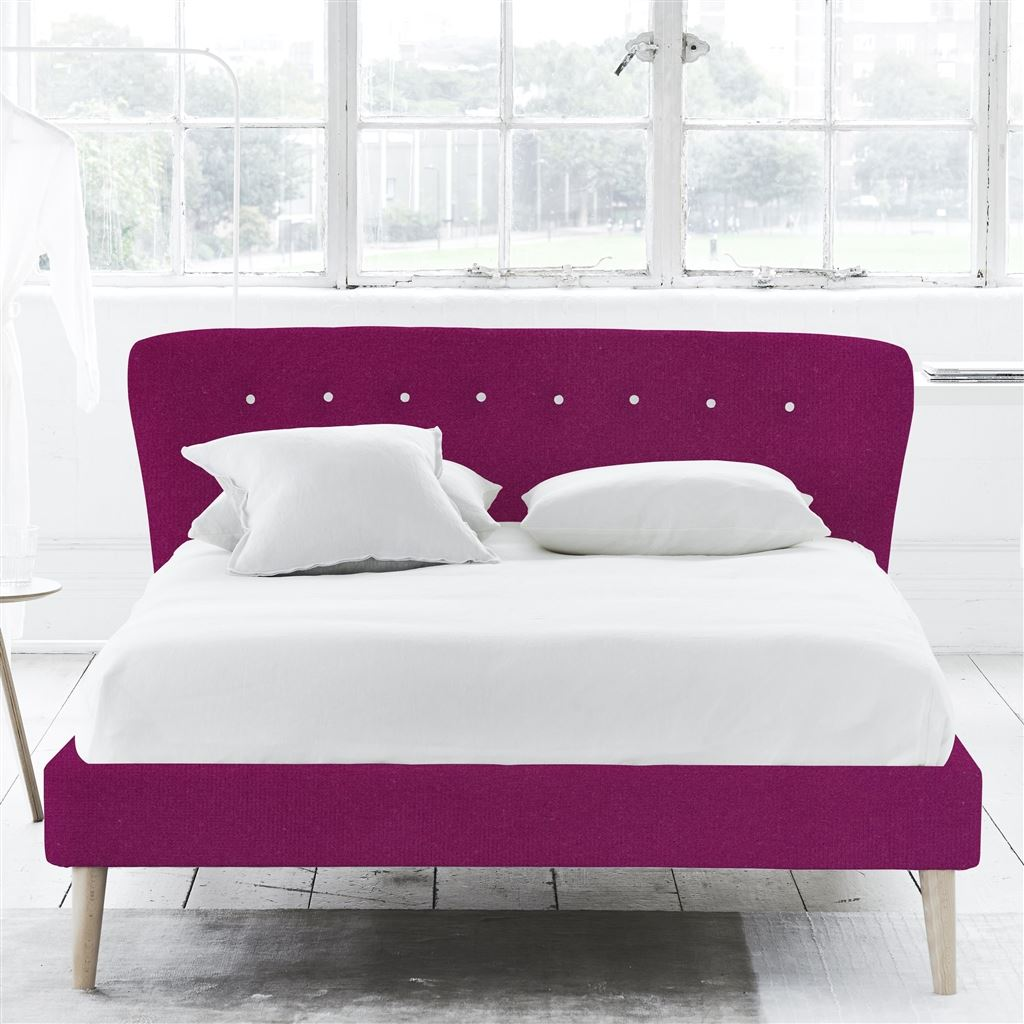 WAVE BED WHITE BUTTONS - KING - BEECH LEG - CASSIA MAGENTA