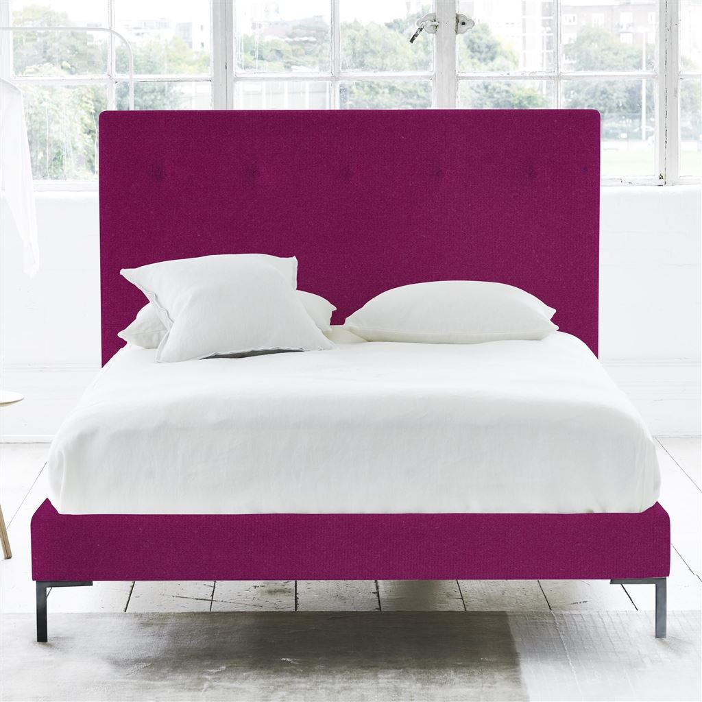 POLKA BED SELF BUTTONS - KING - METAL LEG - CASSIA MAGENTA