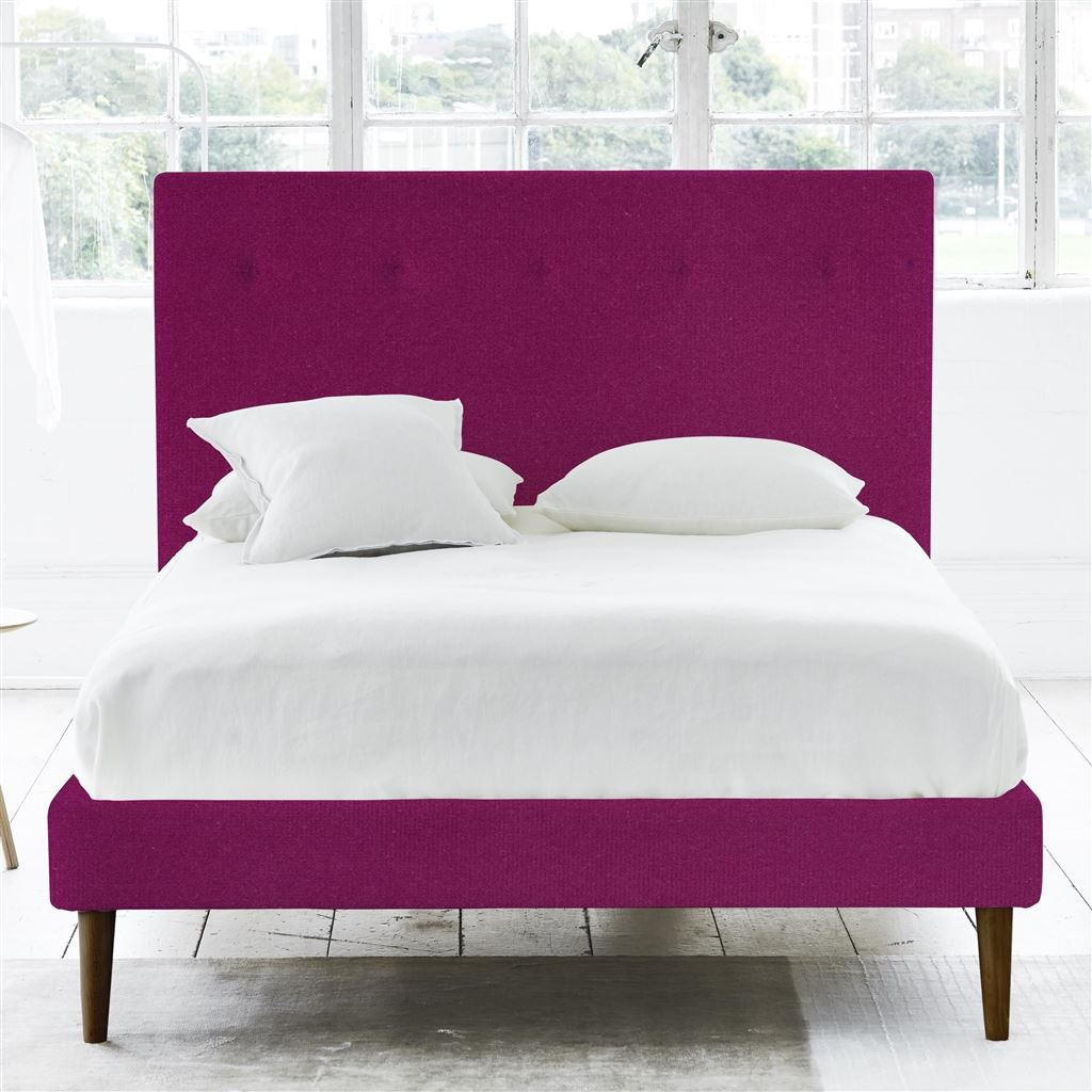 POLKA BED SELF BUTTONS - DOUBLE - WALNUT LEG - CASSIA MAGENTA