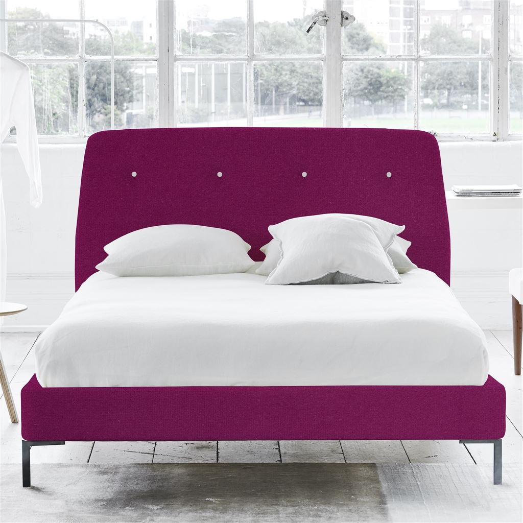 COSMO BED WHITE BUTTONS - DOUBLE - METAL LEG - CASSIA MAGENTA