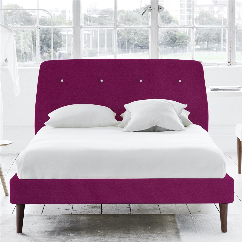 COSMO BED WHITE BUTTONS - SUPERKING - WALNUT LEG - CASSIA MAGENTA