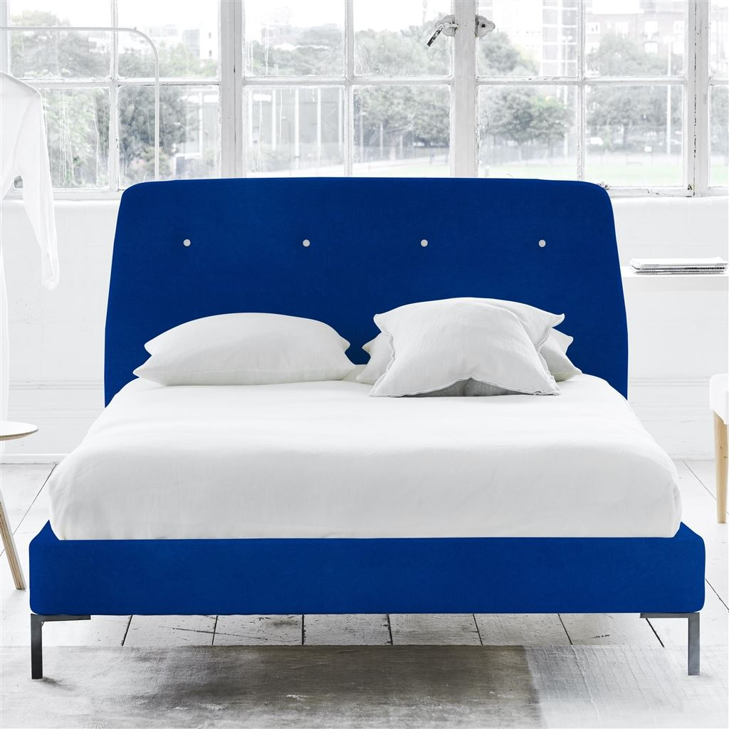 COSMO BED WHITE BUTTONS - SINGLE - METAL LEG - CASSIA COBALT