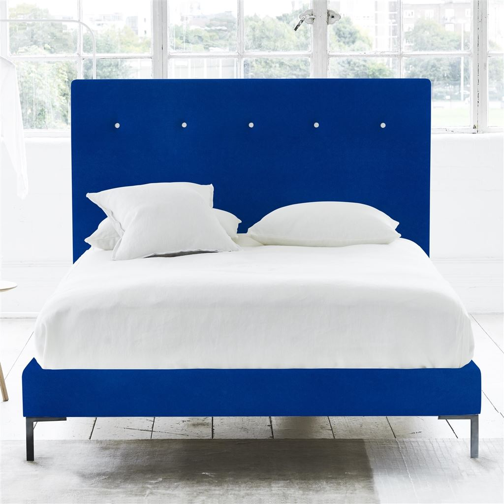 POLKA BED WHITE BUTTONS - KING - METAL LEG - CASSIA COBALT