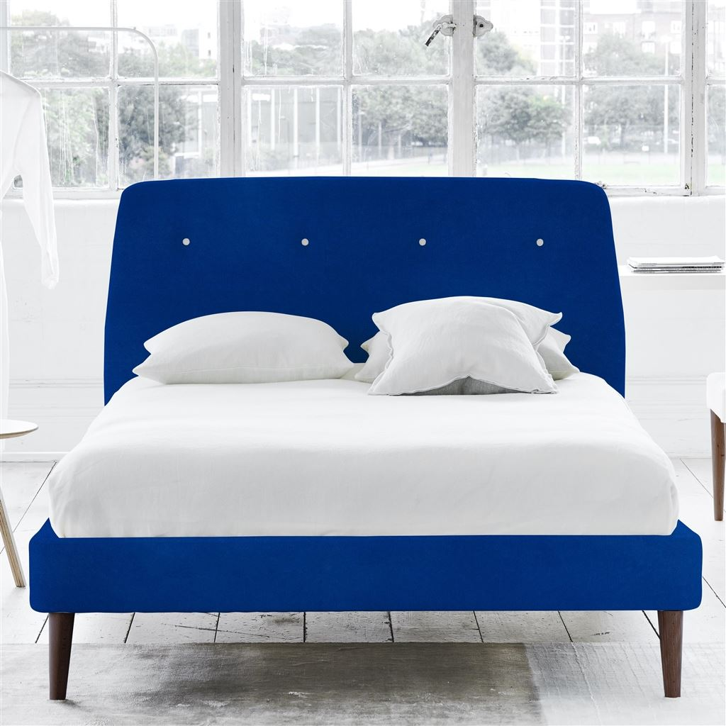 COSMO BED WHITE BUTTONS - KING - WALNUT LEG - CASSIA COBALT