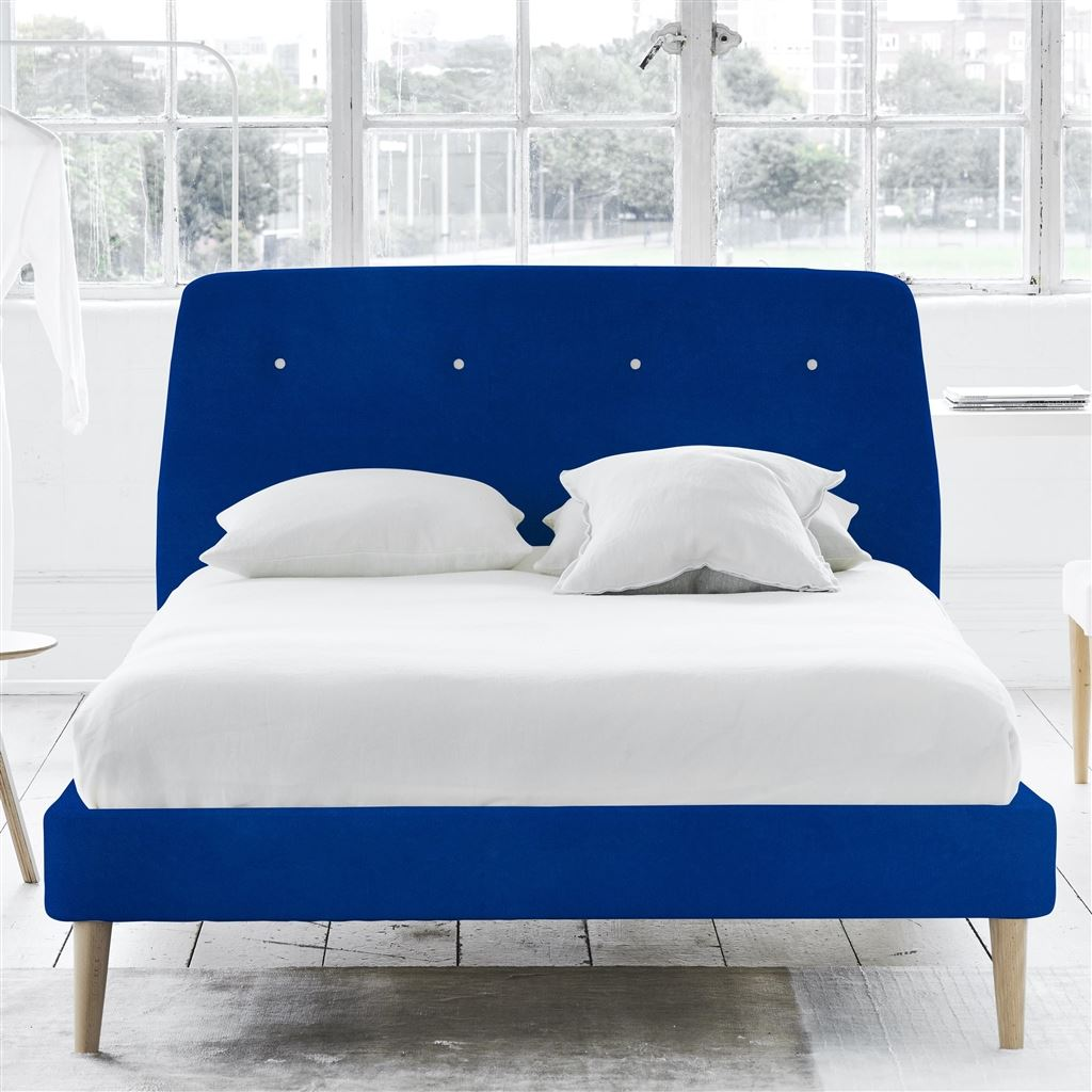 Cosmo Bed White Buttons - Double - Beech Leg - Cassia Cobalt