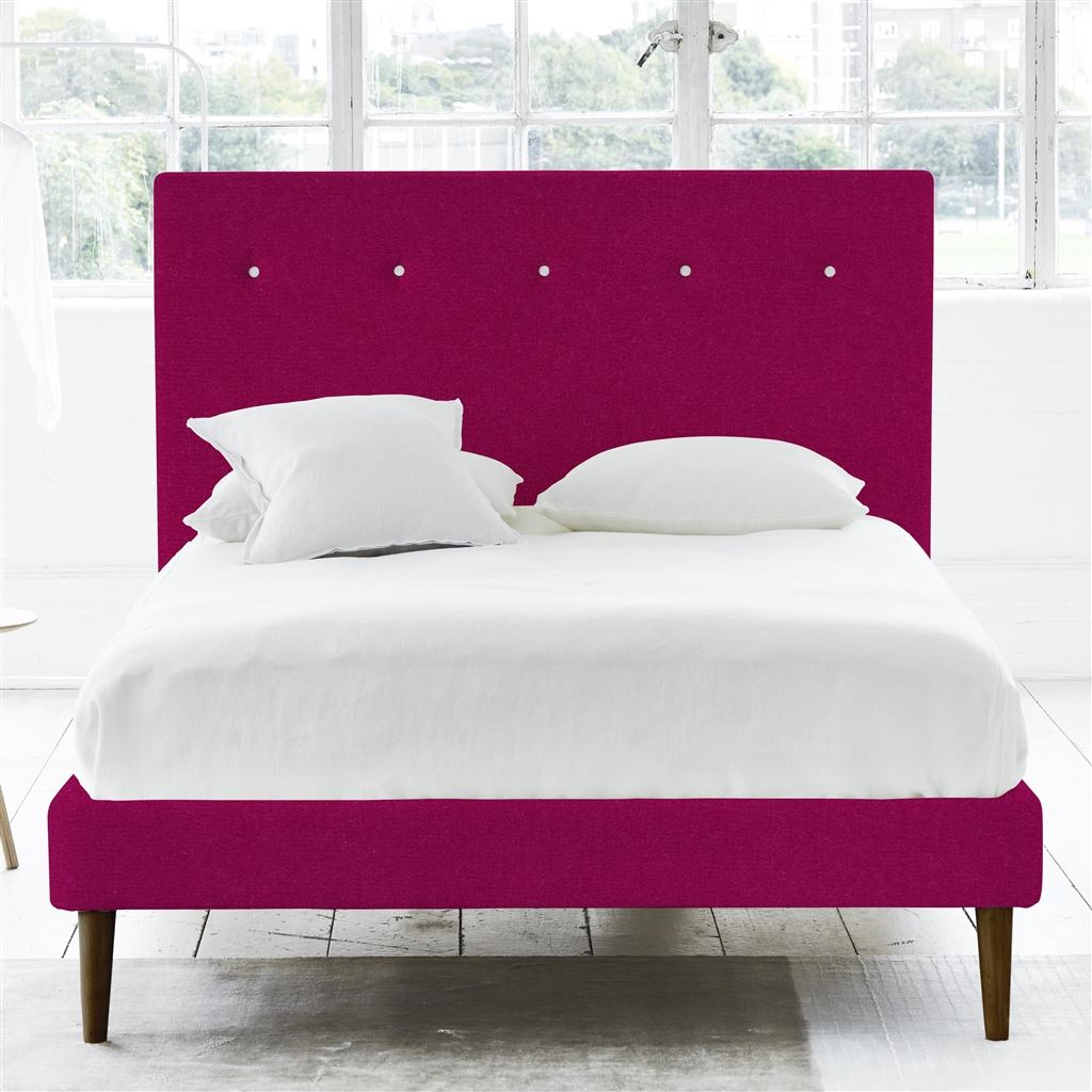 Polka Bed White Buttons - Single - Walnut Leg - Cassia Fuchsia
