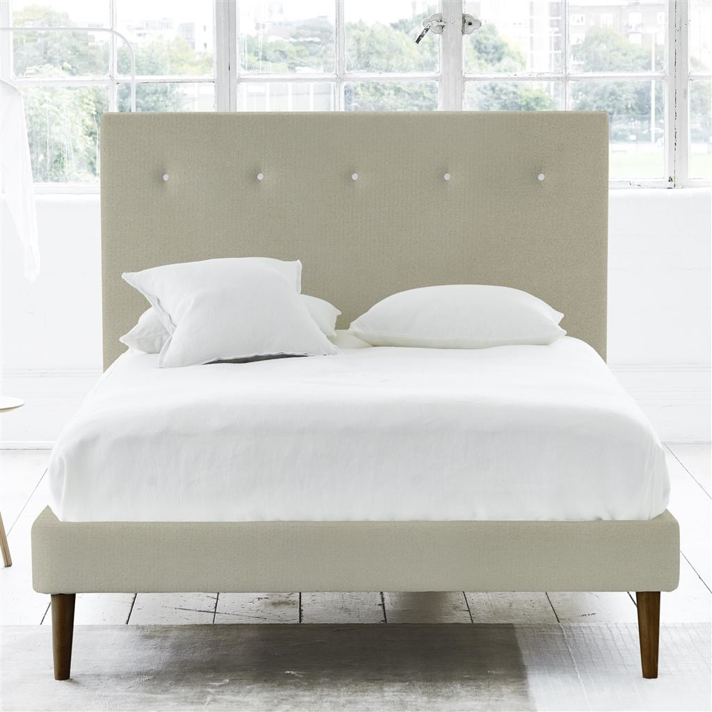 POLKA BED WHITE BUTTONS - SINGLE - WALNUT LEG - CASSIA DOVE