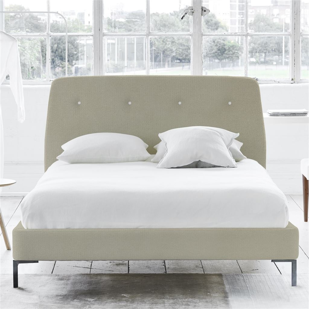 COSMO BED WHITE BUTTONS - KING - METAL LEG - CASSIA DOVE
