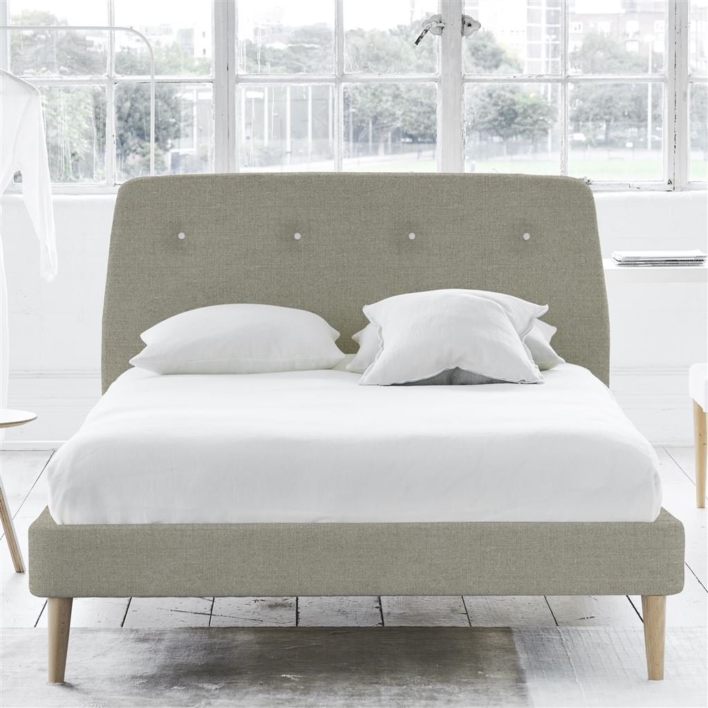 COSMO BED WHITE BUTTONS - SINGLE - BEECH LEG - BRERA LINO PEBBLE
