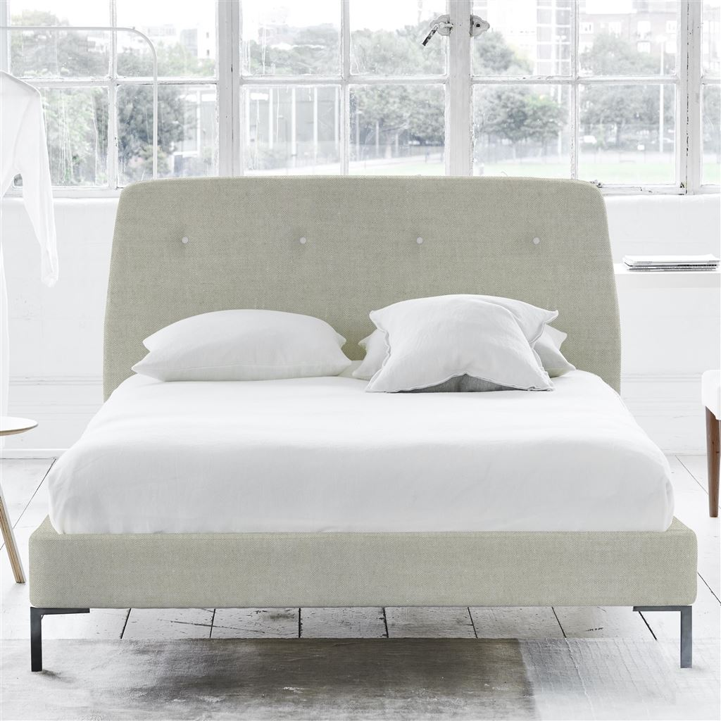 COSMO BED WHITE BUTTONS - DOUBLE - METAL LEG - BRERA LINO NATURAL