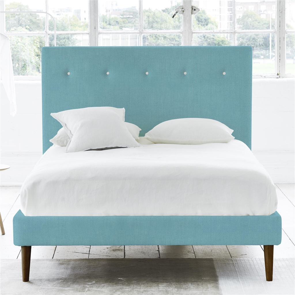 POLKA BED WHITE BUTTONS - KING - WALNUT LEG - BRERA LINO TURQUOISE