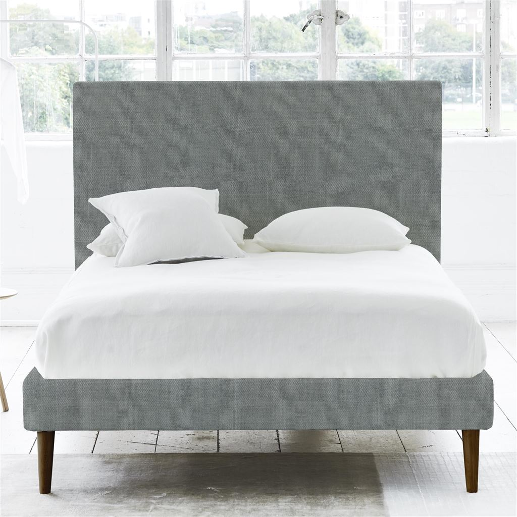SQUARE BED - SUPERKING - WALNUT LEG - BRERA LINO ZINC
