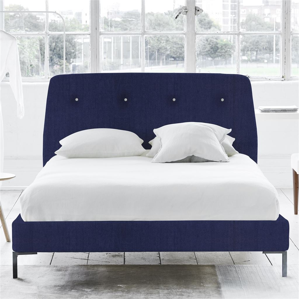 Cosmo Bed White Buttons - Single - Metal Leg - Brera Lino Ultra Marine
