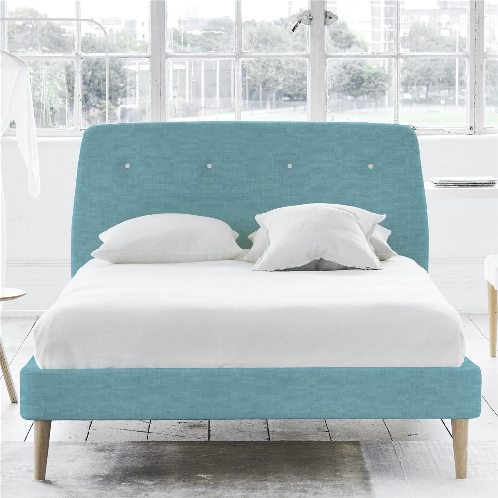 COSMO BED WHITE BUTTONS - DOUBLE - BEECH LEG - BRERA LINO TURQUOISE