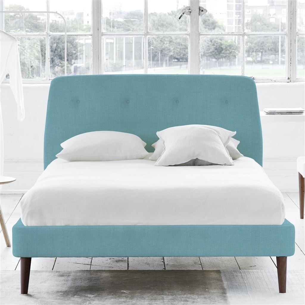COSMO BED-SELF BUTTONS - DOUBLE - WALNUT LEG - BRERA LINO TURQUOISE
