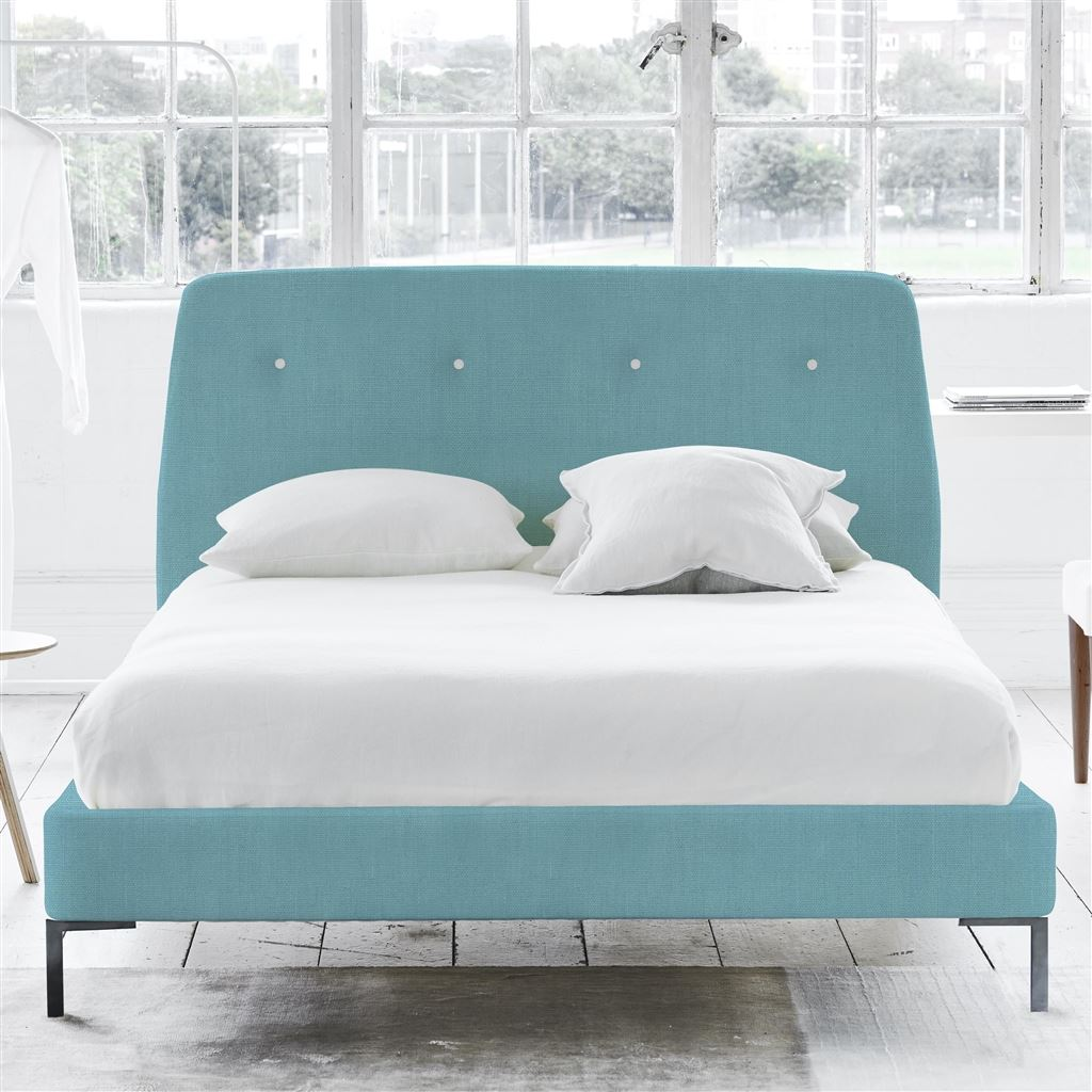 COSMO BED WHITE BUTTONS - SINGLE - METAL LEG - BRERA LINO TURQUOISE