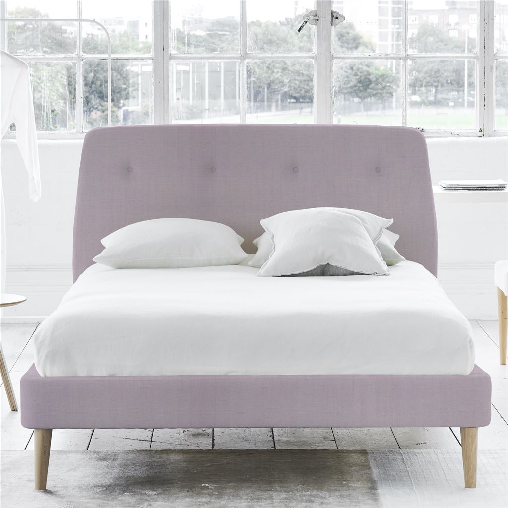 COSMO BED-SELF BUTTONS - KING - BEECH LEG - BRERA LINO PALE ROSE