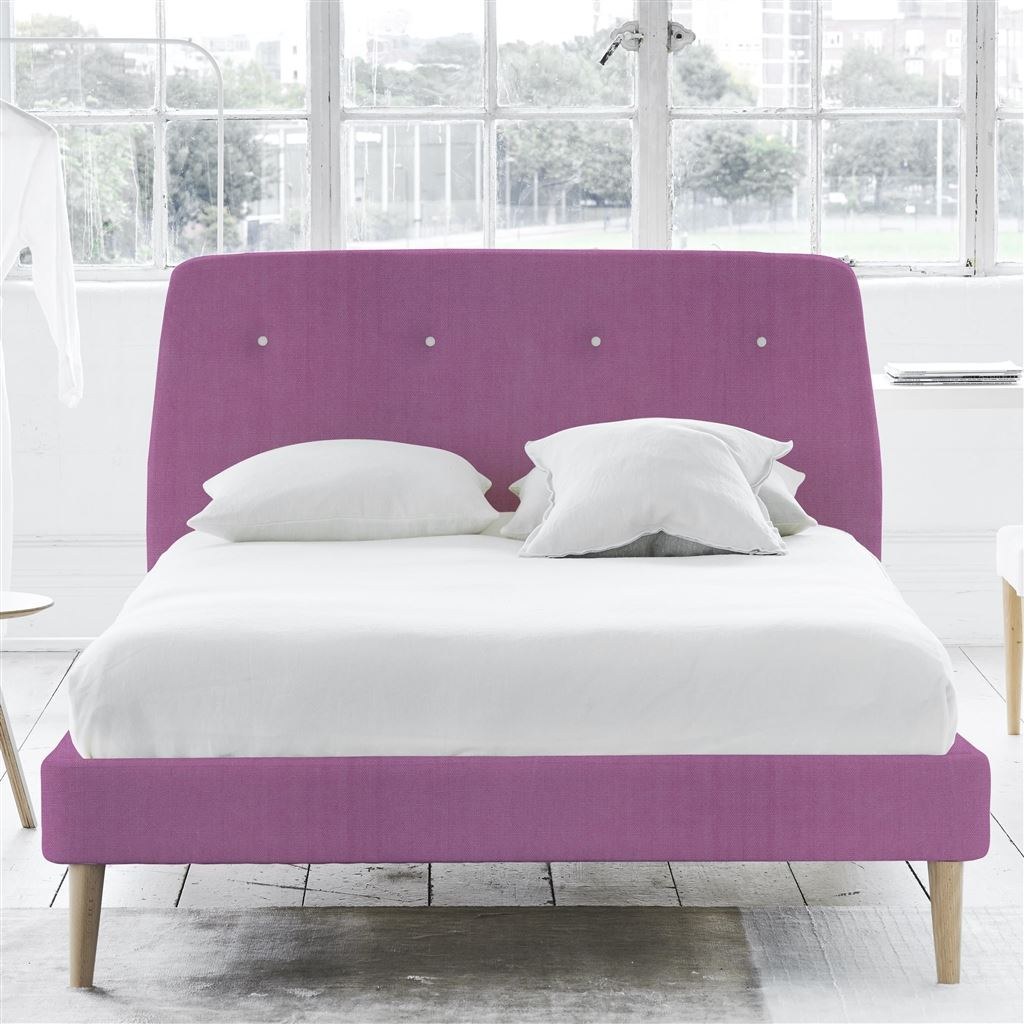 COSMO BED WHITE BUTTONS - DOUBLE - BEECH LEG - BRERA LINO PEONY