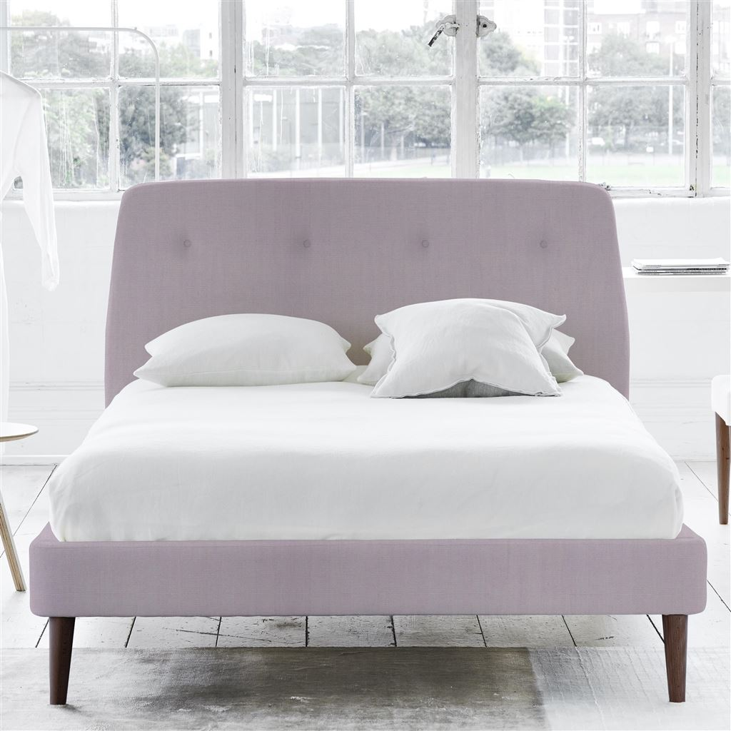 COSMO BED-SELF BUTTONS - SUPERKING - WALNUT LEG - BRERA LINO PALE ROSE