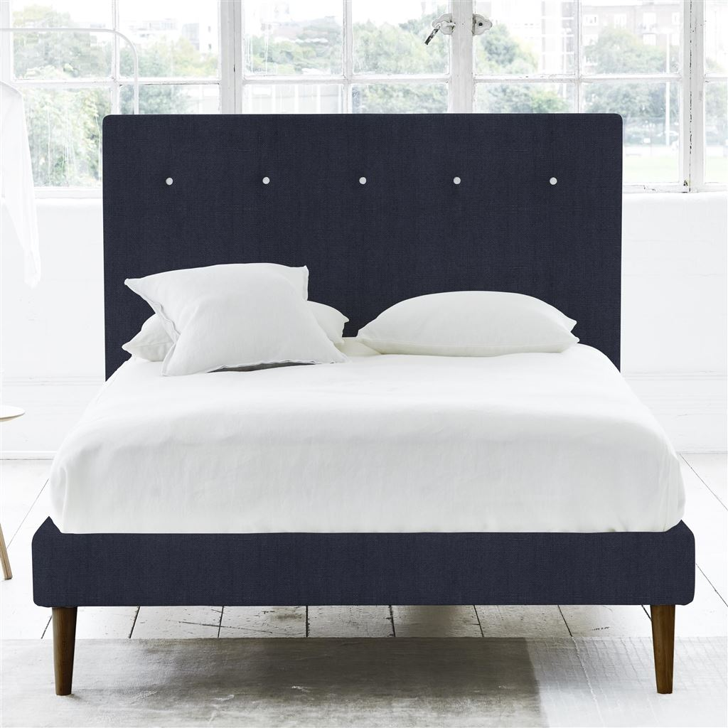 POLKA BED WHITE BUTTONS - SUPERKING - WALNUT LEG - BRERA LINO INDIGO