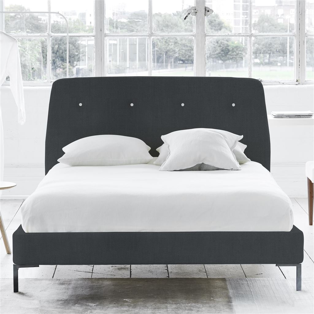 Cosmo Bed White Buttons - Double - Metal Leg - Brera Lino Dusk