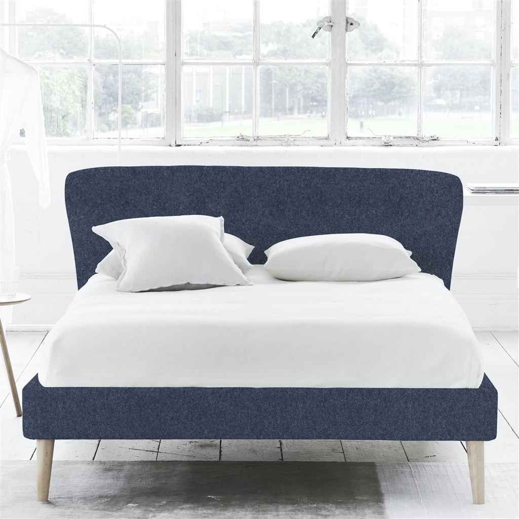 WAVE BED SELF BUTTONS - SUPERKING - BEECH LEG - CHEVIOT INDIGO
