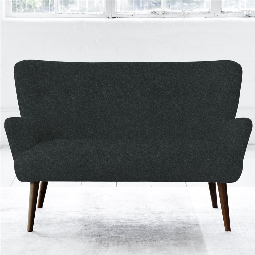Florence 2 Seater - Self Buttons - Walnut Leg - Cheviot Noir
