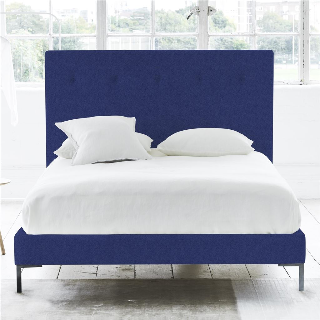 POLKA BED SELF BUTTONS - SUPERKING - METAL LEG - CHEVIOT COBALT