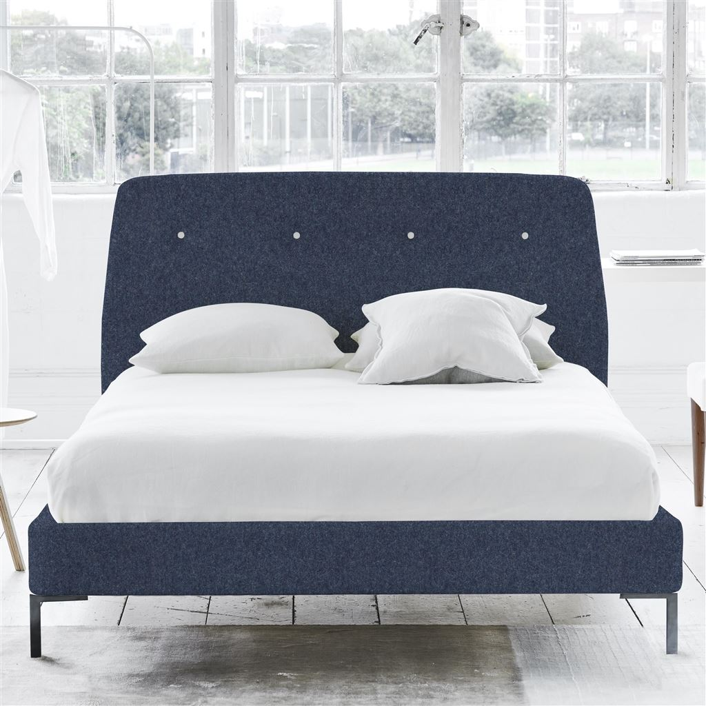 COSMO BED WHITE BUTTONS - KING - METAL LEG - CHEVIOT INDIGO