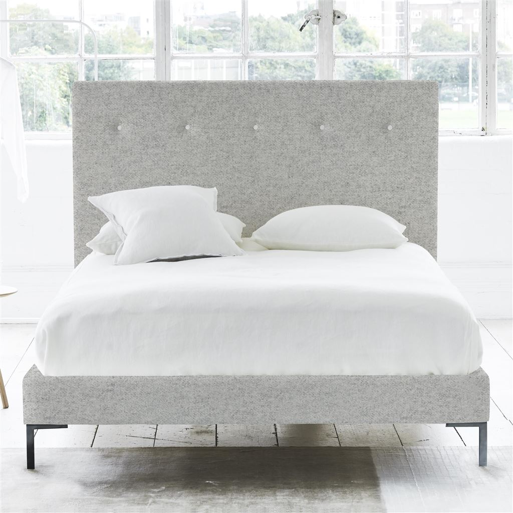 POLKA BED WHITE BUTTONS - KING - METAL LEG - CHEVIOT STONE
