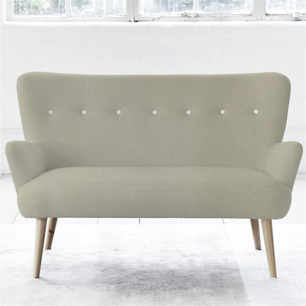 FLORENCE 2 SEATER - WHITE BUTTONS - BEECH LEG - CASSIA DOVE