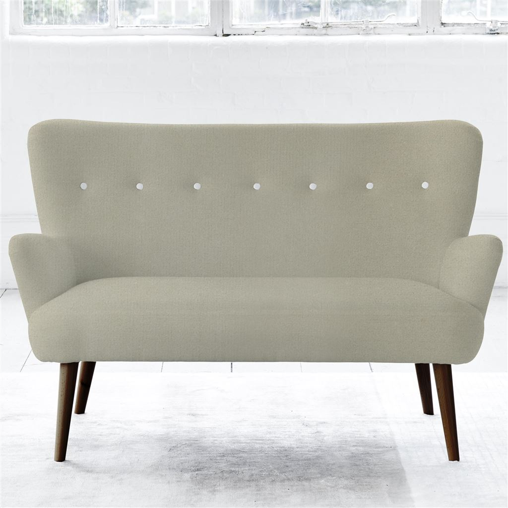 FLORENCE 2 SEATER - WHITE BUTTONS - WALNUT LEG - CASSIA DOVE