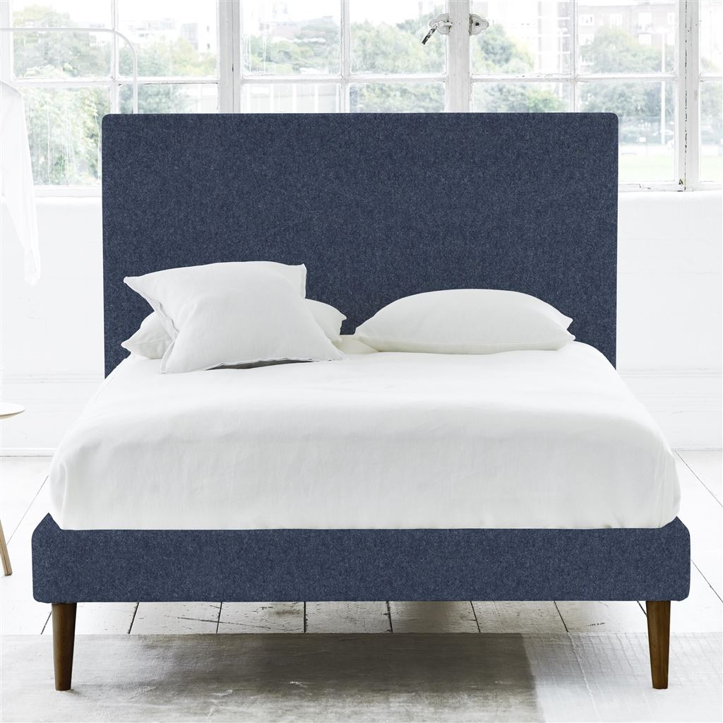 SQUARE BED - SUPERKING - WALNUT LEG - CHEVIOT INDIGO