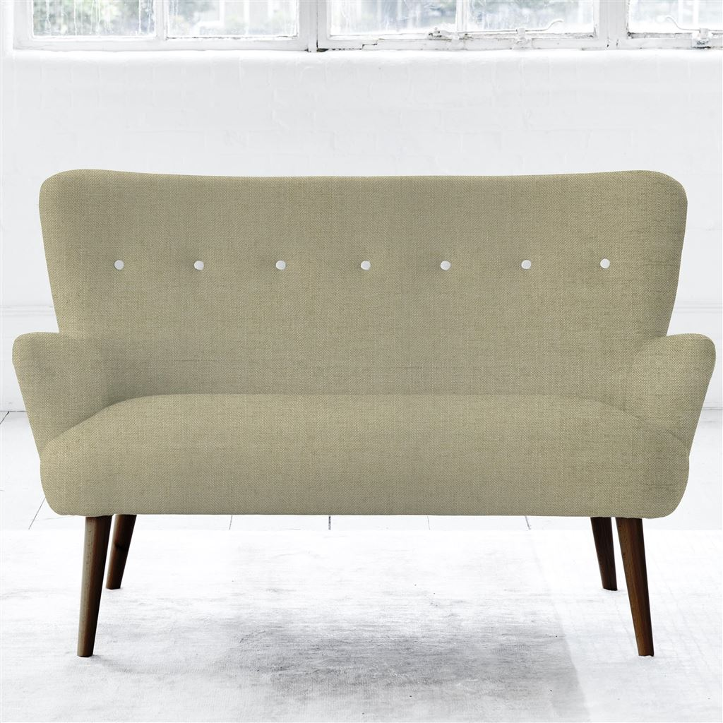 Florence 2 Seater - White Buttons - Walnut Leg - Elrick Hessian