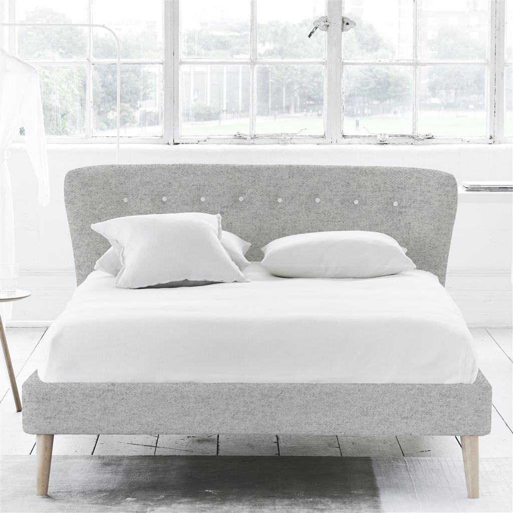 WAVE BED WHITE BUTTONS - SUPERKING - BEECH LEG - CHEVIOT STONE
