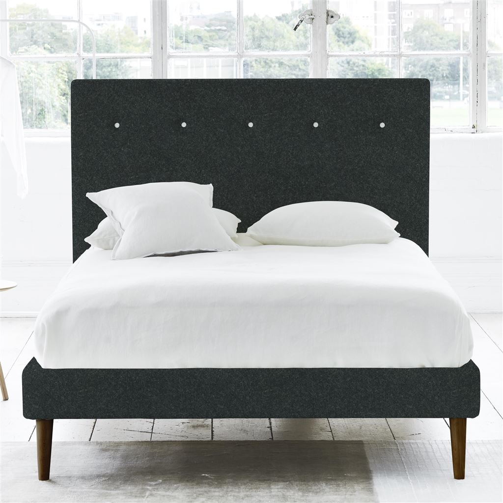 POLKA BED WHITE BUTTONS - SINGLE - WALNUT LEG - CHEVIOT NOIR