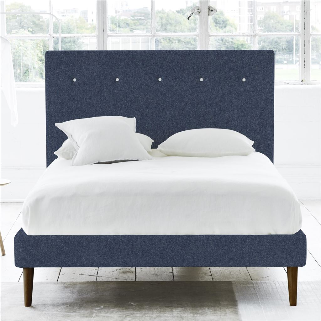 POLKA BED WHITE BUTTONS - SINGLE - WALNUT LEG - CHEVIOT INDIGO