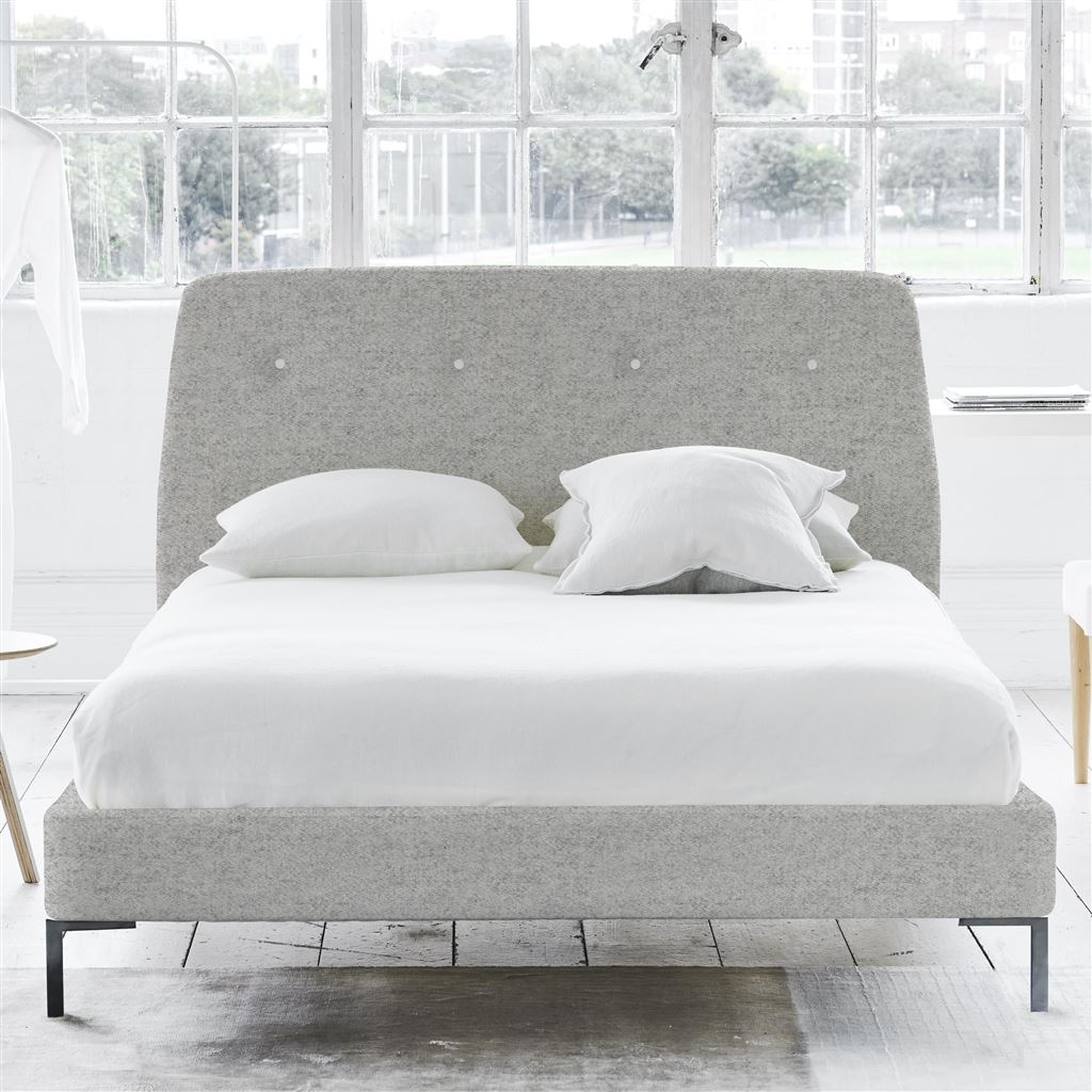 COSMO BED WHITE BUTTONS - DOUBLE - METAL LEG - CHEVIOT STONE