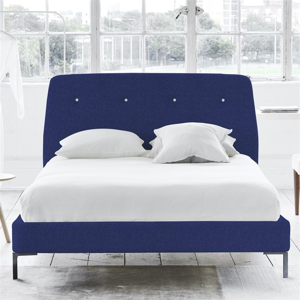 COSMO BED WHITE BUTTONS - DOUBLE - METAL LEG - CHEVIOT COBALT