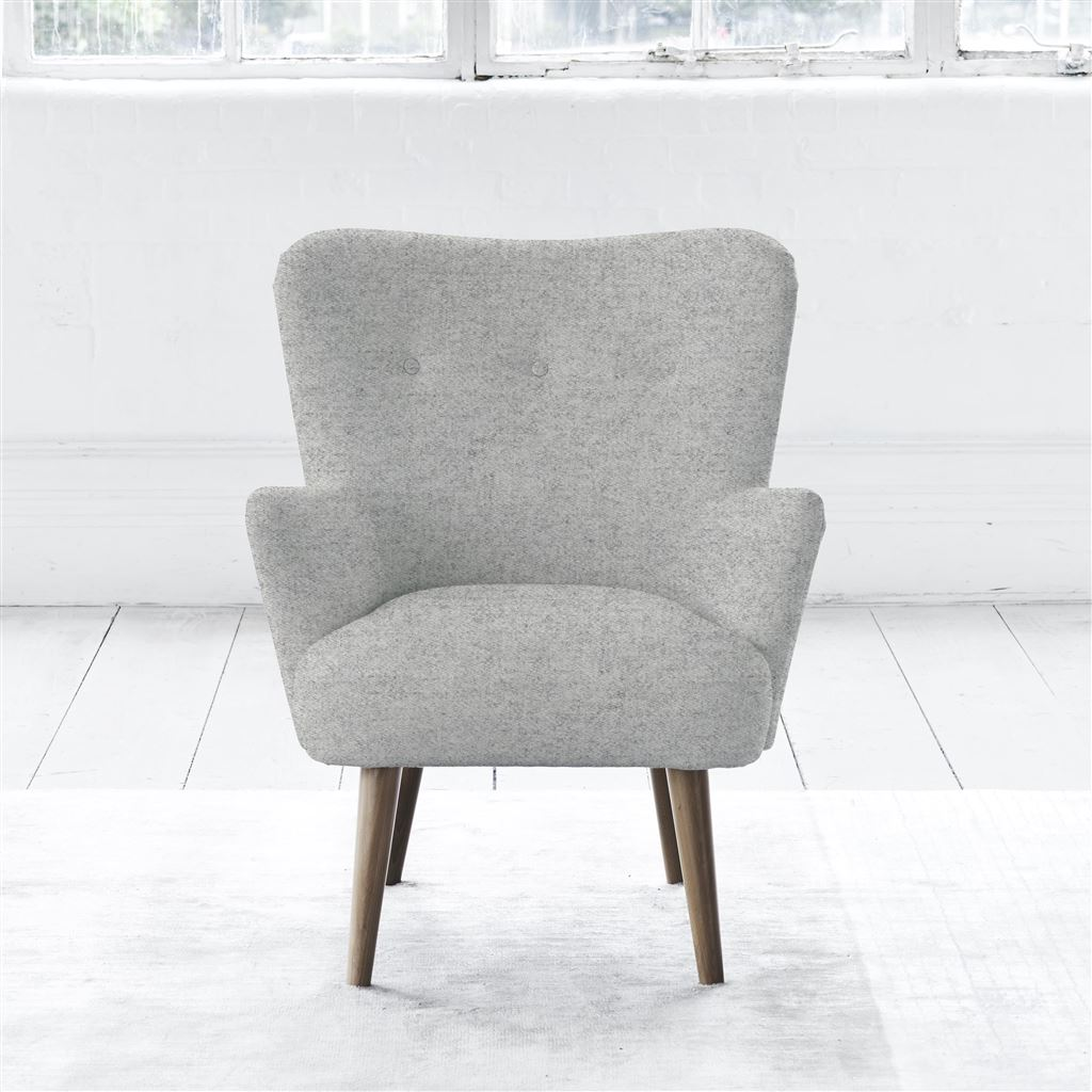 FLORENCE CHAIR - SELF BUTTONS - WALNUT LEG - CHEVIOT STONE