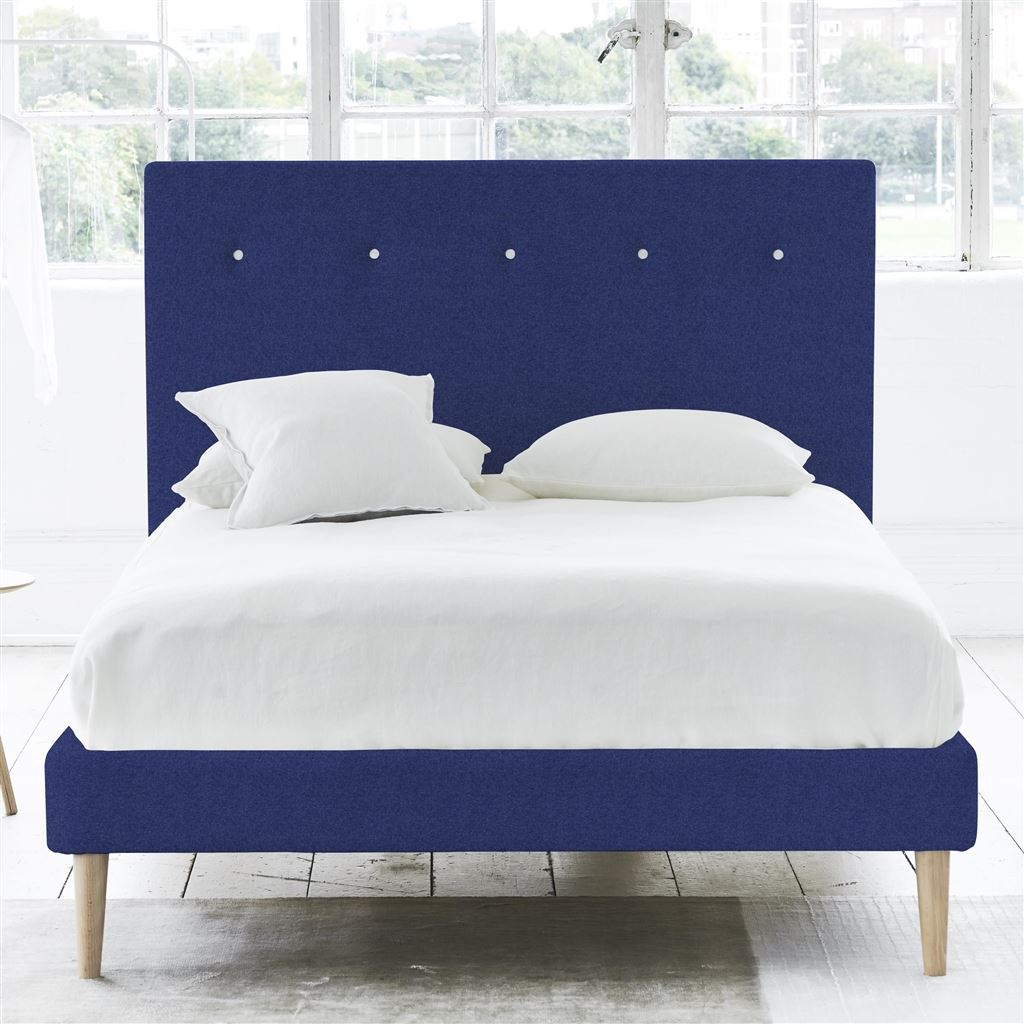 POLKA BED WHITE BUTTONS - KING - BEECH LEG - CHEVIOT COBALT