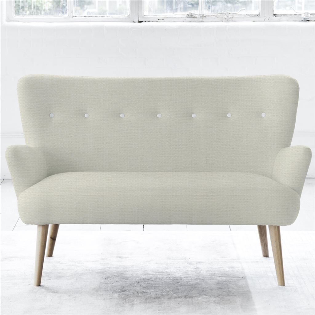 Florence 2 Seater - White Buttons - Beech Leg - Elrick Alabaster