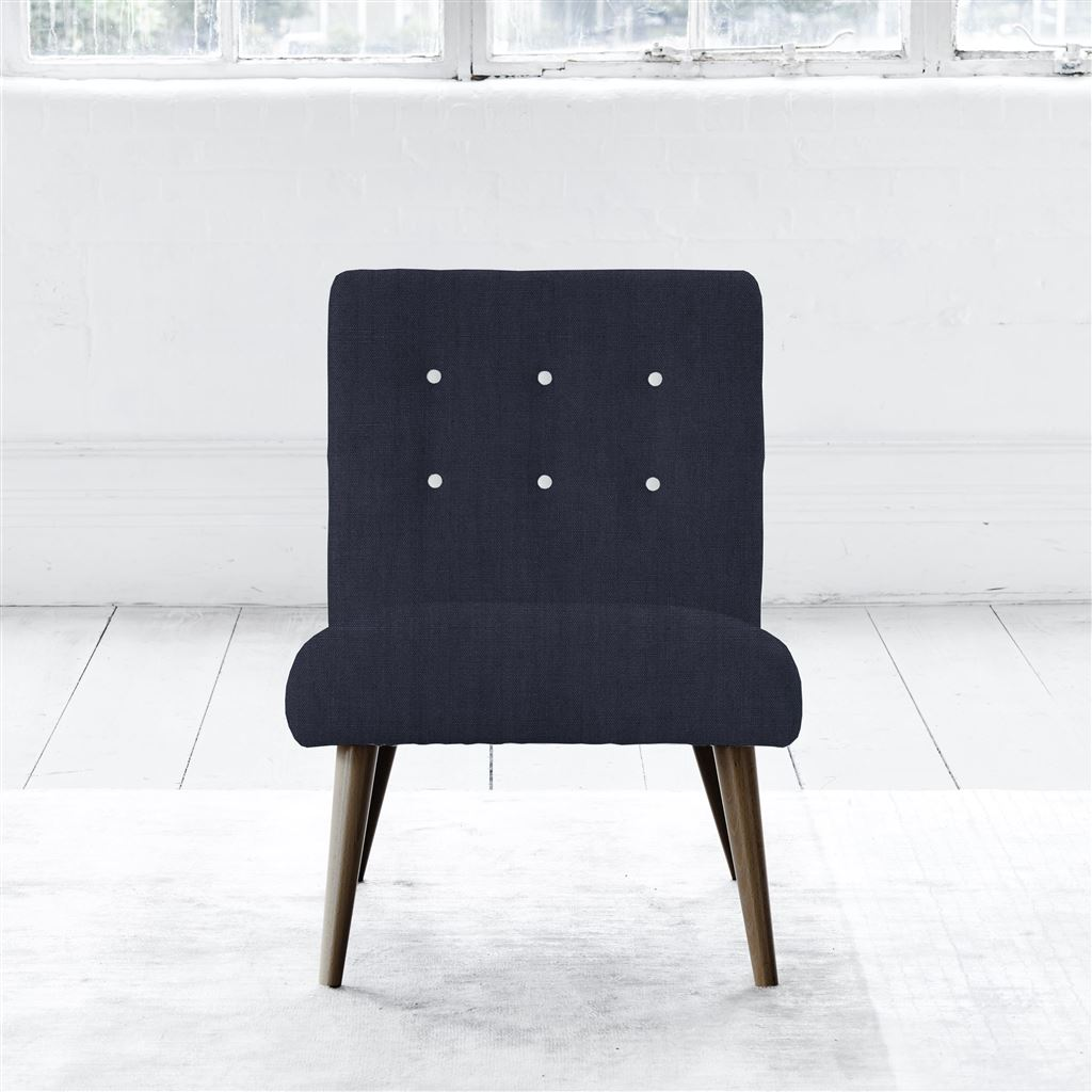 EVA CHAIR - WHITE BUTTONS - WALNUT LEG - BRERA LINO INDIGO